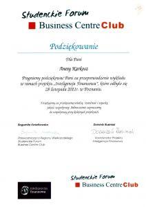 Podziekowanie dla SFPK Sp. z o.o. za przeprowadzenie wykładu w ramach projektu