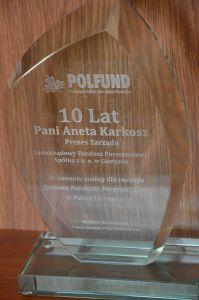 Gratulacje z okazji 10-lecia SFPK Sp. z o.o. w Gostyniu od Prezesa Zarządu POLFUND FPK S.A.