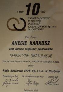 Gratulacje z okazji 10-lecia działalności SFPK Sp. z o.o. w Gostyniu od Rady Nadzorczej SFPK Sp. z o.o. w Gostyniu