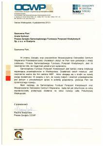 Gratulacje z okazji 10-lecia istnienia SFPK Sp. z o.o. od OCWP