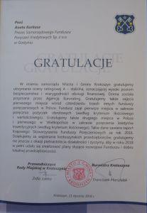Gratulacje dla SFPK Sp. z o.o. w Gostyniu od samorzadu Miasta i Gminy Krotoszyn za utrzymanie wysokiej oceny ratingu na poziomie A