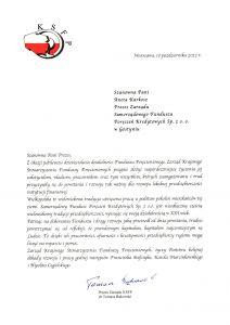 Gratulacje z okazji 10-lecia działalności SFPK Sp. z o.o. w Gostyniu od Zarządu Krajowego Stowarzyszenia Funduszy Poreczeniowych
