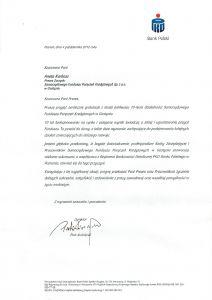 Gratulacje dla SFPK Sp. z o.o. od PKP BP S.A. z okazji 10-lecia istnienia