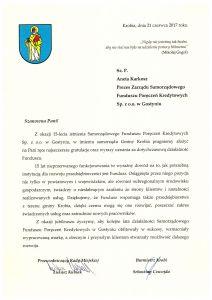 Gratulacje z okazji 15-lecia istnienia Samorządowego Funduszu Kredytowego Sp. z o.o. w Gostyniu od samorzadu Gminy Krobia
