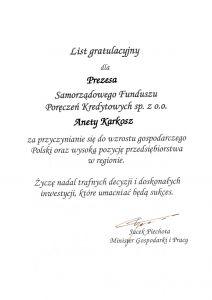 List gratulacyjny od Ministra Gospodarki i Pracy dla SFPK Sp. z o.o. w Gostyniu