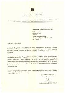 Gratulacje z okazji 10-lecia aktywności SFPK Sp. z o.o. w Gostyniu od Związku Banków Polskich