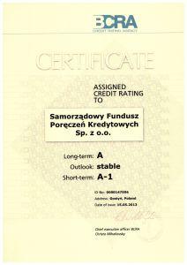 Certyfikat potwierdzający utrzymanie ratingu na poziomie A dla SFpk Sp. z o.o.