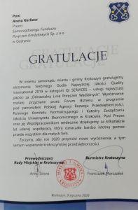 Gratulacje QI SERVICES