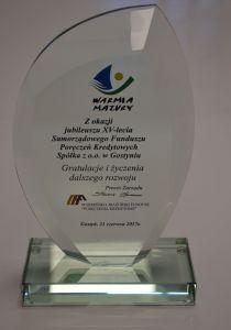 Gratulacje z okazji 15-lecia istnienia SFPK Sp. z o.o. w Gostyniu od Warmińsko-Mazurskiego Funduszu Poręczeń Kredytowych