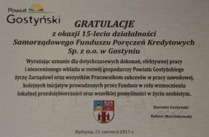 Gratulacje z okazji 15-lecia działalności SFPK Sp. z o.o. w Gostyniu od Powiatu Gostyńskiego