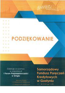 Podziękowanie Forum Przedsiębiorczości Śmigiel 2020